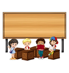 Children and wooden sign vector