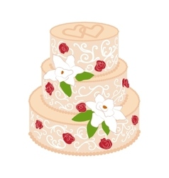 Wedding cake with cream red roses vector