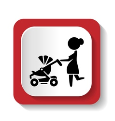 silhouette of a woman with a stroller vector image