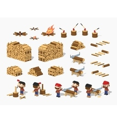 Firewood harvesting by lumberjacks vector