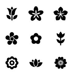 Black flowers icon set vector