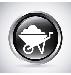 Wheel barrow in silver button isolated icon vector