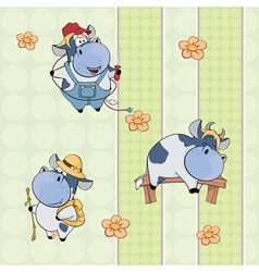 A background with cows seamless pattern vector image vector image