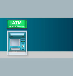 Atm - automated teller machine with green lightbox vector