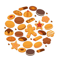 bakery cookies and patisserie biscuits biscuits vector image vector image