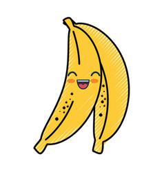 Banana cartoon smiley vector