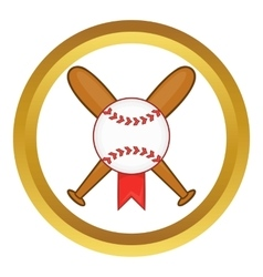 Baseball with bats icon vector