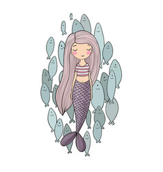 Beautiful little mermaid and a flock of fish vector
