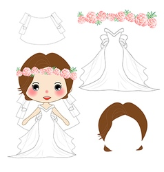 Bride wedding dress costume vector