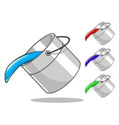 Bucket with paint vector