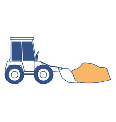 bulldozer with rocks on color section silhouette vector image vector image