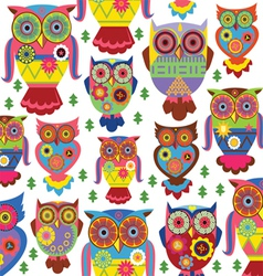 cartoon owl pattern white background vector image vector image