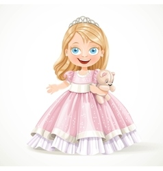 Cute little princess in magnificent pink dress vector image vector image