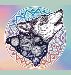 Double exposure wolf howling at moon outer space vector