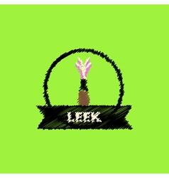 Flat icon design collection leek emblem vector