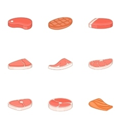 Fresh meat fish icons set cartoon style vector