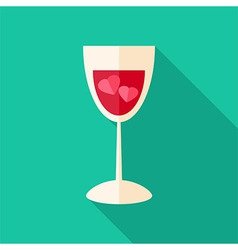 Glass with two hearts vector image