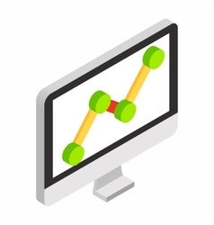 Graph on the computer monitor isometric 3d icon vector