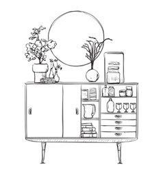 Hand drawn cupboard with dishes furniture vector