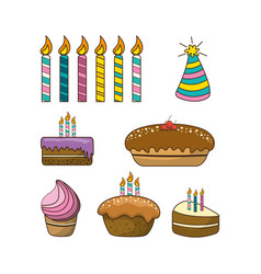 Happy birthday with pastels candle and hat party vector