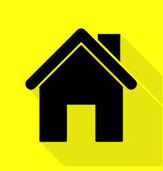 Home silhouette black icon with flat vector