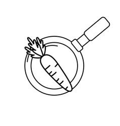 line carrot vegetable inside skillet pan vector image vector image