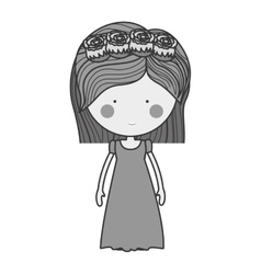 Monochrome bride with crown of roses vector