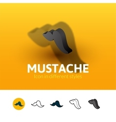 Mustache icon in different style vector image