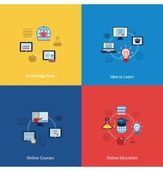 Online education icon flat vector image