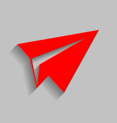 Paper airplane sign red icon with soft vector