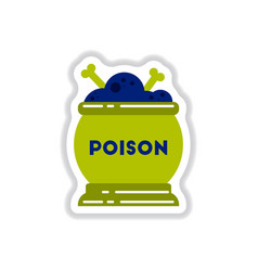 Paper sticker on background of potion cauldron vector