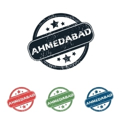 Round ahmedabad city stamp set vector