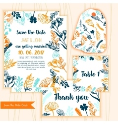 Save the Date card with Vintage floral frameRSVP vector image