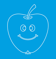 Smiling apple icon outline vector