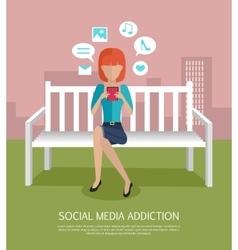 Social media addiction banner vector