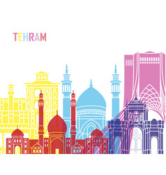 Tehran skyline pop vector