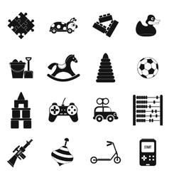 Toys black simple icons set vector