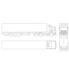 Truck trailer outline commercial vehicle vector