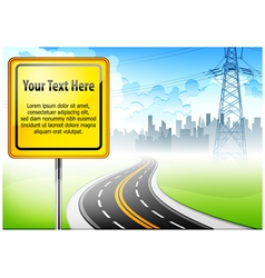 yellow sign road vector image