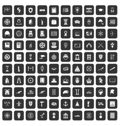 100 history icons set black vector