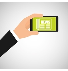 Smartphone hand hold news headline design vector