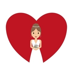Beautiful wife with heart vector