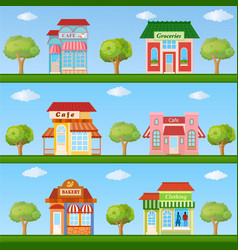 Building icon set store and cafe building front vector