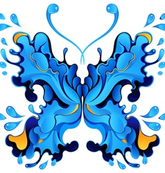 Abstract blue butterfly blot for design vector