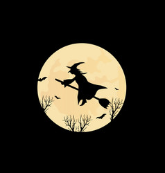 Witch and the moon vector