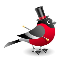 Bullfinch in cylinder hat vector
