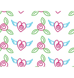 seamless floral roses and hearts background vector image