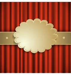 Curtain with gold ribbon vector