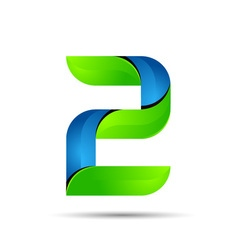 3d number 2 two logo with speed green leaves vector
