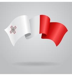 Maltese waving flag vector